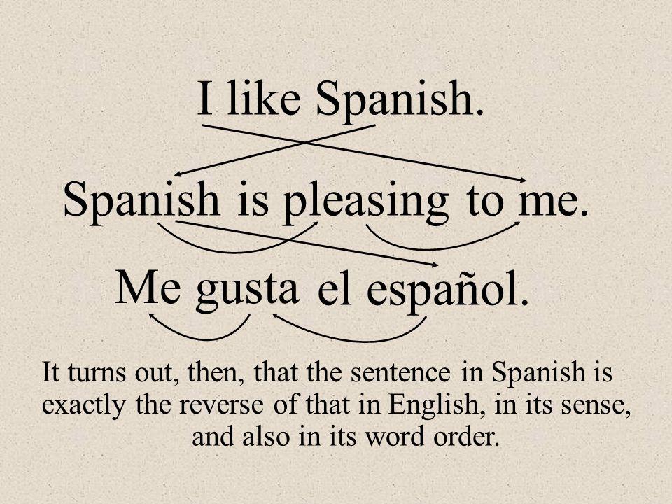 me gusta. El españolel español. I like Spanish. Spanishis pleasingto me.