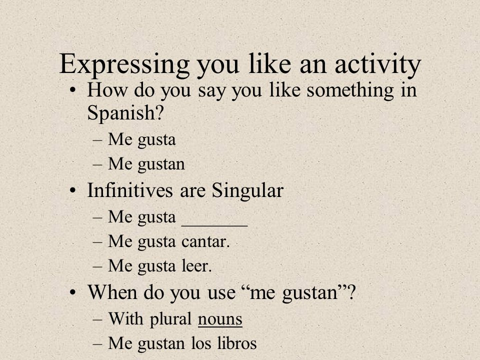 Expressing you like an activity How do you say you like something in Spanish.