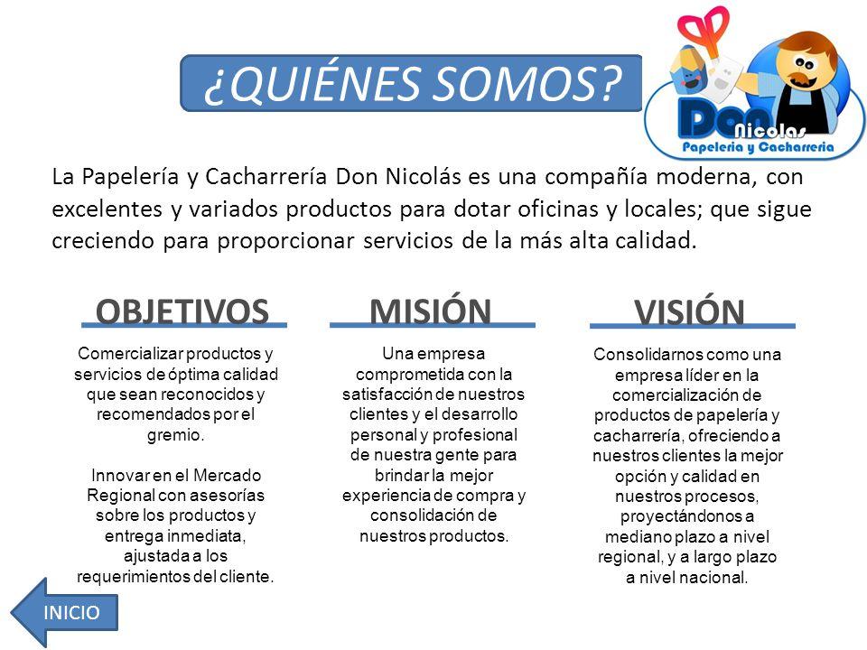 La Papelería y Cacharrería Don Nicolás es una compañía moderna, con excelentes y variados productos para dotar oficinas y locales; que sigue creciendo