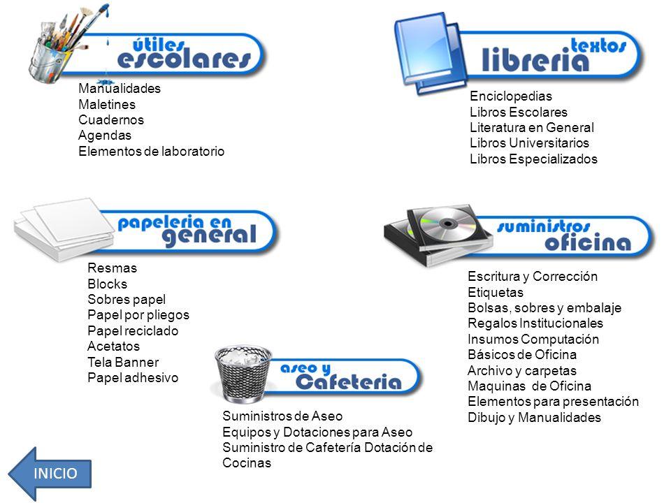 Manualidades Maletines Cuadernos Agendas Elementos de laboratorio Enciclopedias Libros Escolares Literatura en General Libros Universitarios Libros Es