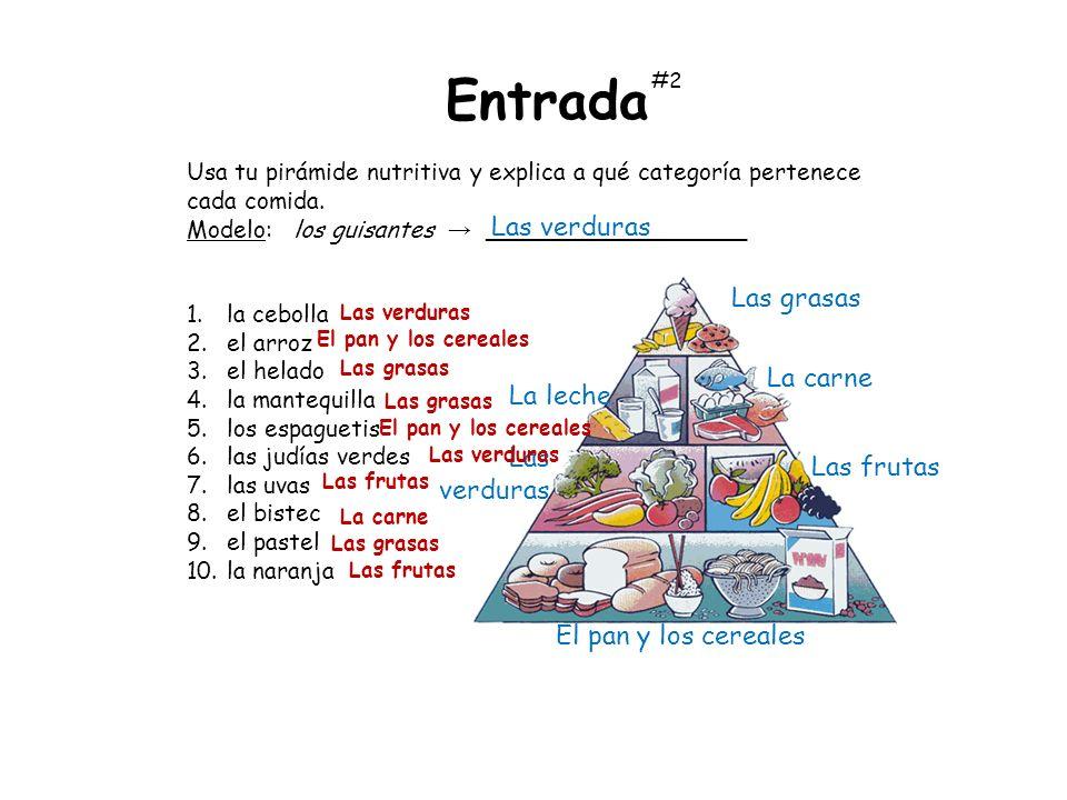 Usa tu pirámide nutritiva y explica a qué categoría pertenece cada comida. Modelo:los guisantes __________________ 1.la cebolla 2.el arroz 3.el helado