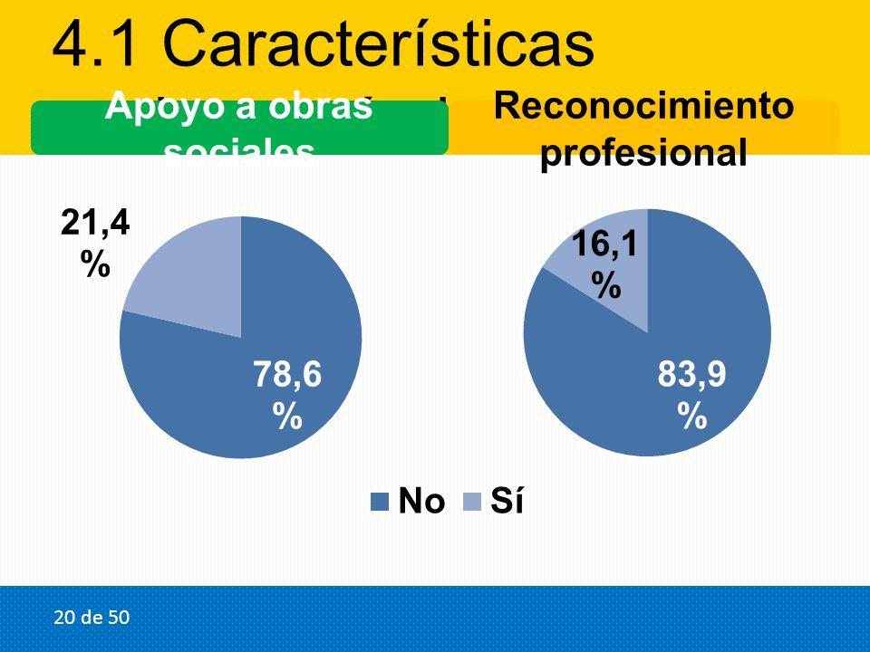 4.1 Características socioeconómicas Apoyo a obras sociales Reconocimiento profesional 20 de 50