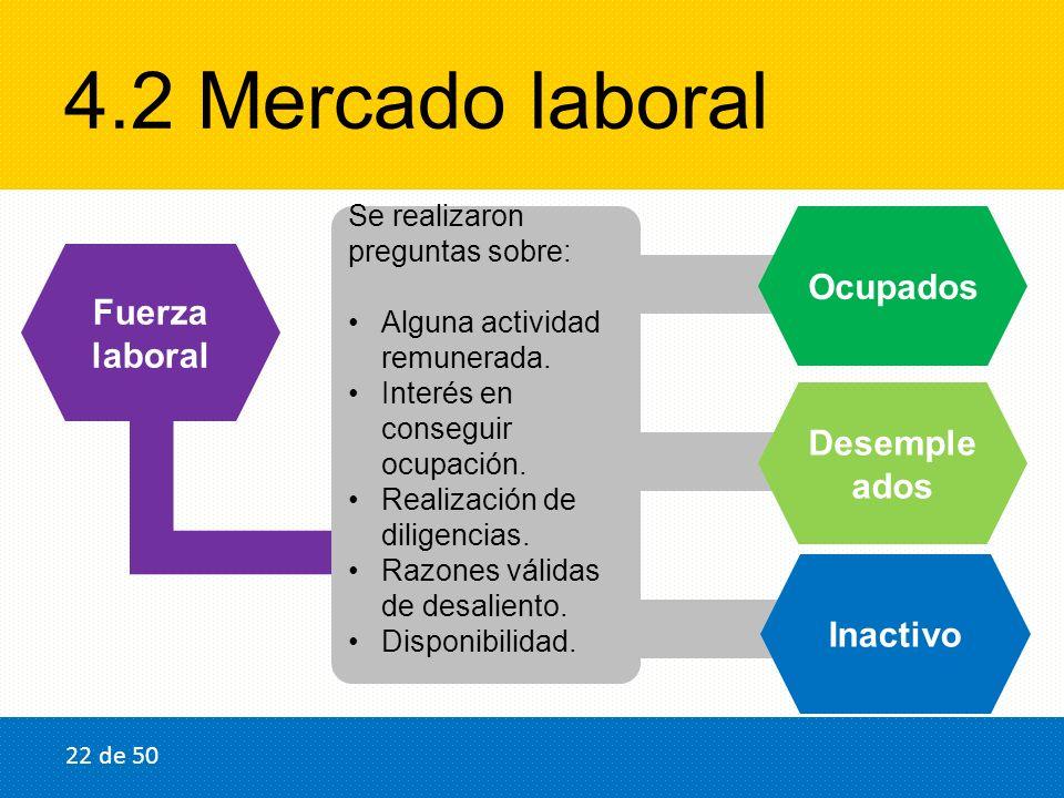 4.2 Mercado laboral Fuerza laboral Ocupados Desemple ados Se realizaron preguntas sobre: Alguna actividad remunerada. Interés en conseguir ocupación.