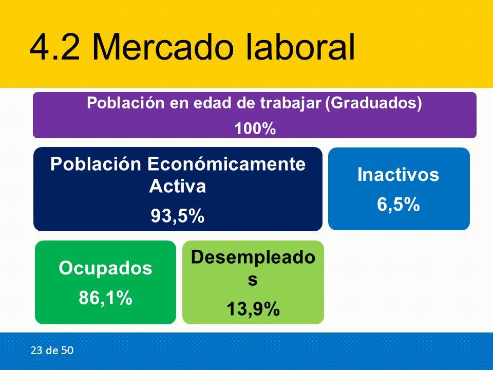 4.2 Mercado laboral Población en edad de trabajar (Graduados) 100% Población Económicamente Activa 93,5% Ocupados 86,1% Desempleado s 13,9% Inactivos 6,5% 23 de 50