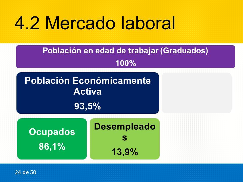 4.2 Mercado laboral Población en edad de trabajar (Graduados) 100% Población Económicamente Activa 93,5% Ocupados 86,1% Desempleado s 13,9% Inactivos 6,5% 24 de 50