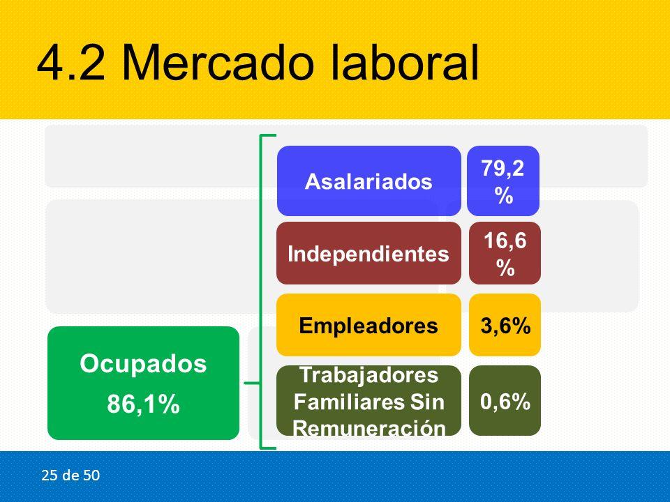4.2 Mercado laboral Población en edad de trabajar (Graduados) 100% Población Económicamente Activa 93,5% Ocupados 86,1% Desocupado s 13,9% Inactivos 6,5% Asalariados Independientes Empleadores Trabajadores Familiares Sin Remuneración 79,2 % 16,6 % 3,6% 0,6% 25 de 50