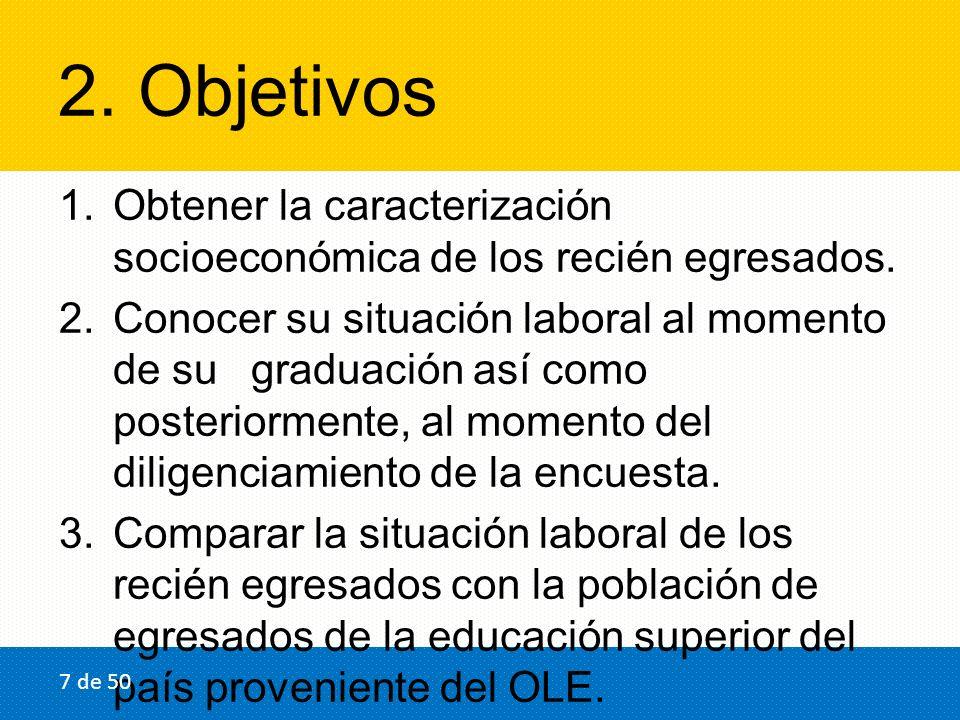 2. Objetivos 1.Obtener la caracterización socioeconómica de los recién egresados. 2.Conocer su situación laboral al momento de sugraduación así como p