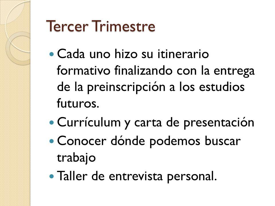 Tercer Trimestre Cada uno hizo su itinerario formativo finalizando con la entrega de la preinscripción a los estudios futuros.