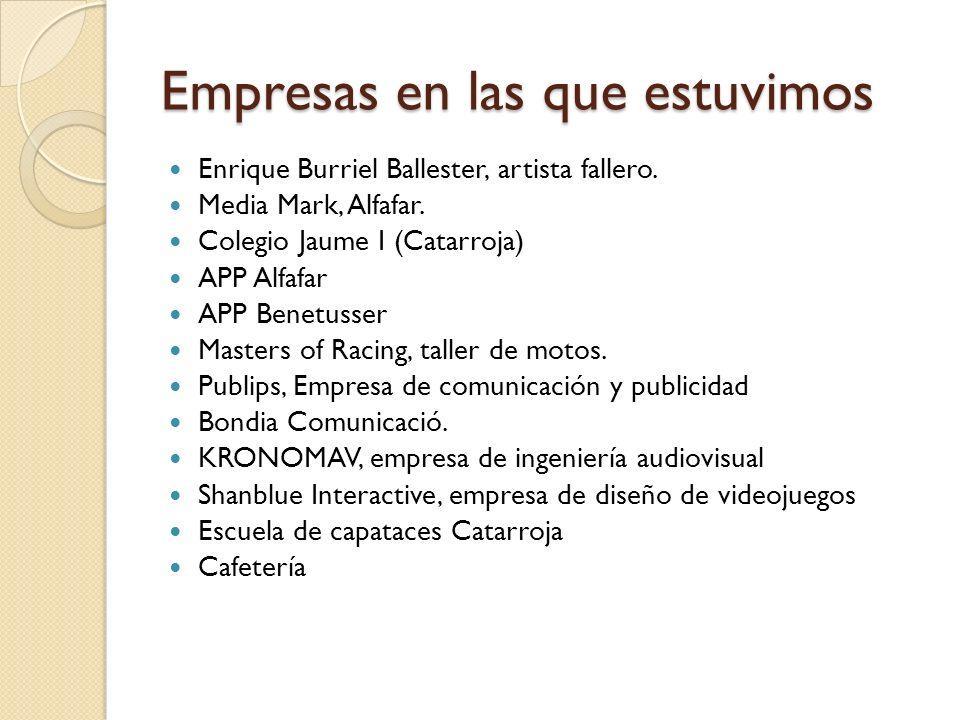 Empresas en las que estuvimos Enrique Burriel Ballester, artista fallero.