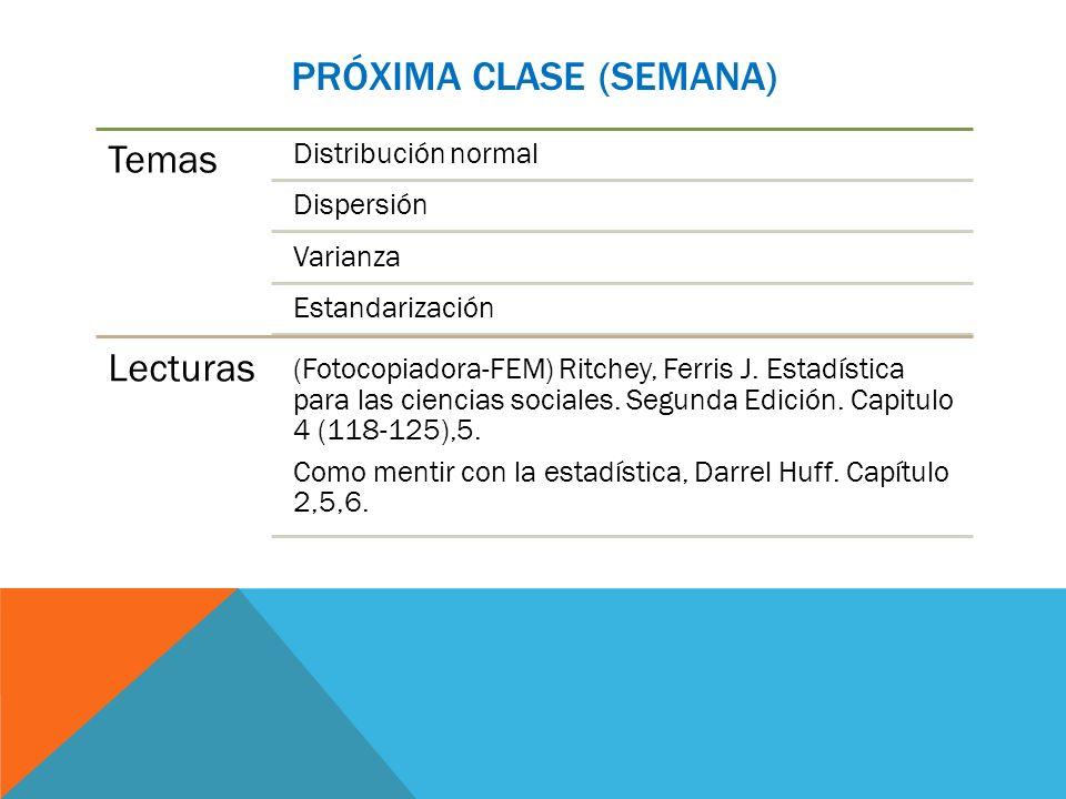 PRÓXIMA CLASE (SEMANA) Temas Distribución normal Dispersión Varianza Estandarización Lecturas (Fotocopiadora-FEM) Ritchey, Ferris J. Estadística para