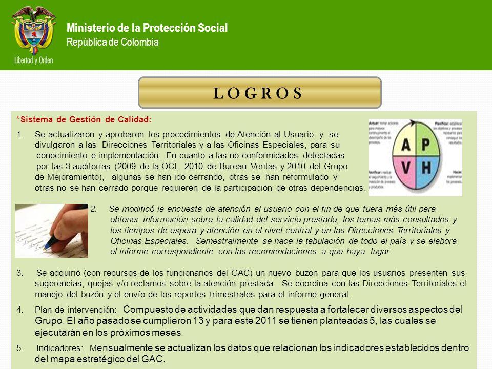 Ministerio de la Protección Social República de Colombia L O G R O S AVANCES EN OTROS FRENTES DE GESTION DEL GAC