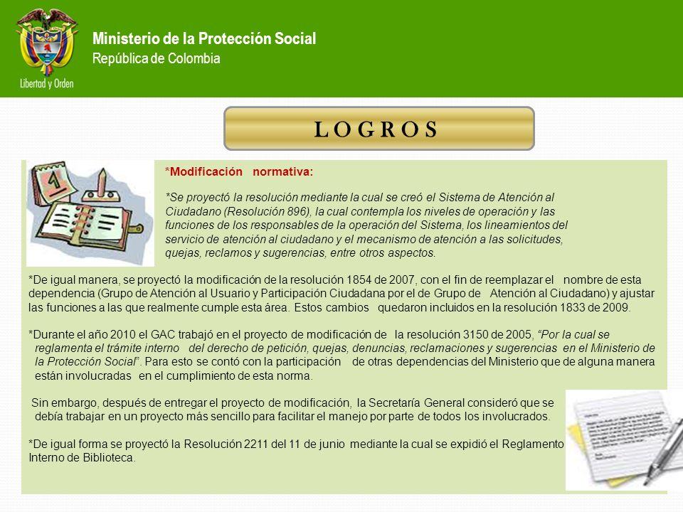 Ministerio de la Protección Social República de Colombia *Sistema de Gestión de Calidad: 1.Se actualizaron y aprobaron los procedimientos de Atención