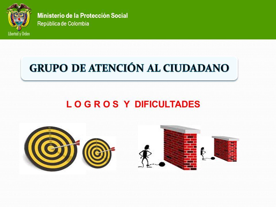Ministerio de la Protección Social República de Colombia L O G R O S Y DIFICULTADES