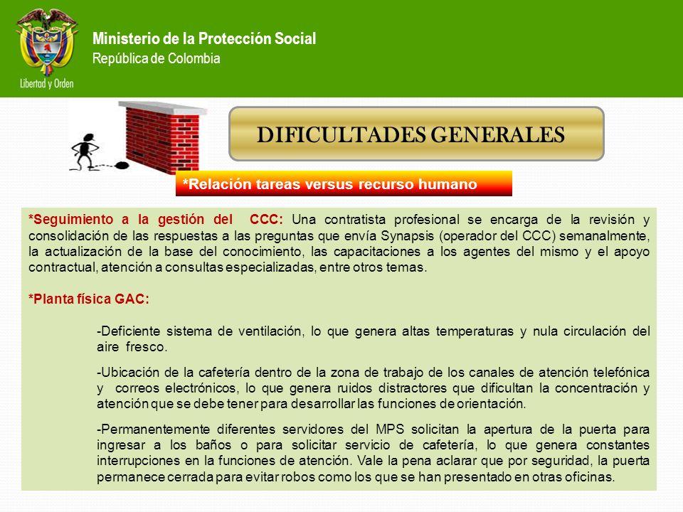Ministerio de la Protección Social República de Colombia DIFICULTADES GENERALES *Relación tareas versus recurso humano *Canal presencial (ventanilla):