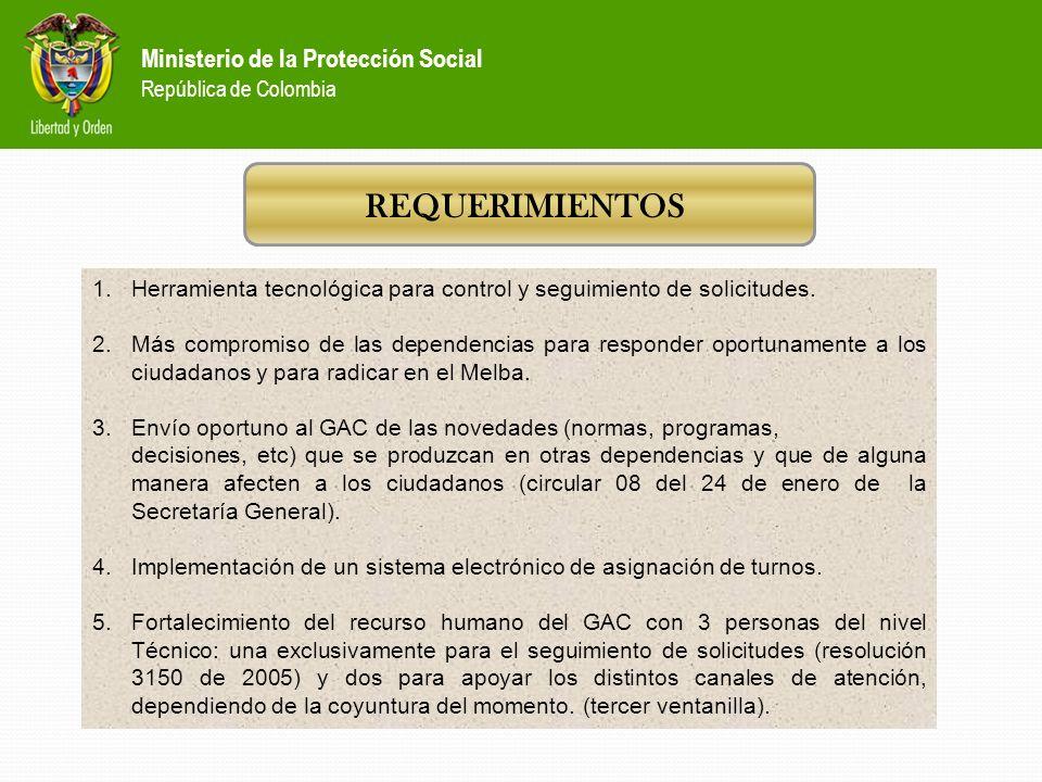 Política Nacional de Prestación de Servicios de salud Ministerio de la Protección Social República de Colombia VOLUMEN DE ATENCIÓN POR TODOS LOS CANAL
