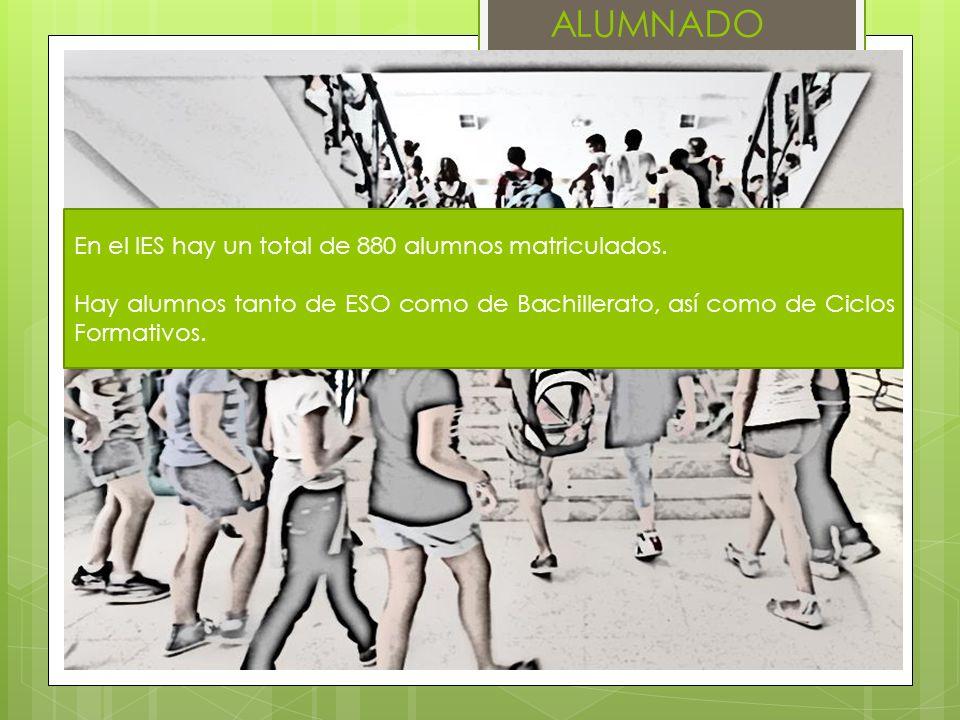 ALUMNADO En el IES hay un total de 880 alumnos matriculados. Hay alumnos tanto de ESO como de Bachillerato, así como de Ciclos Formativos.