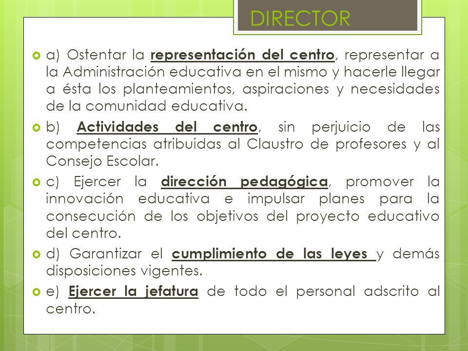 a) Ostentar la representación del centro, representar a la Administración educativa en el mismo y hacerle llegar a ésta los planteamientos, aspiracion