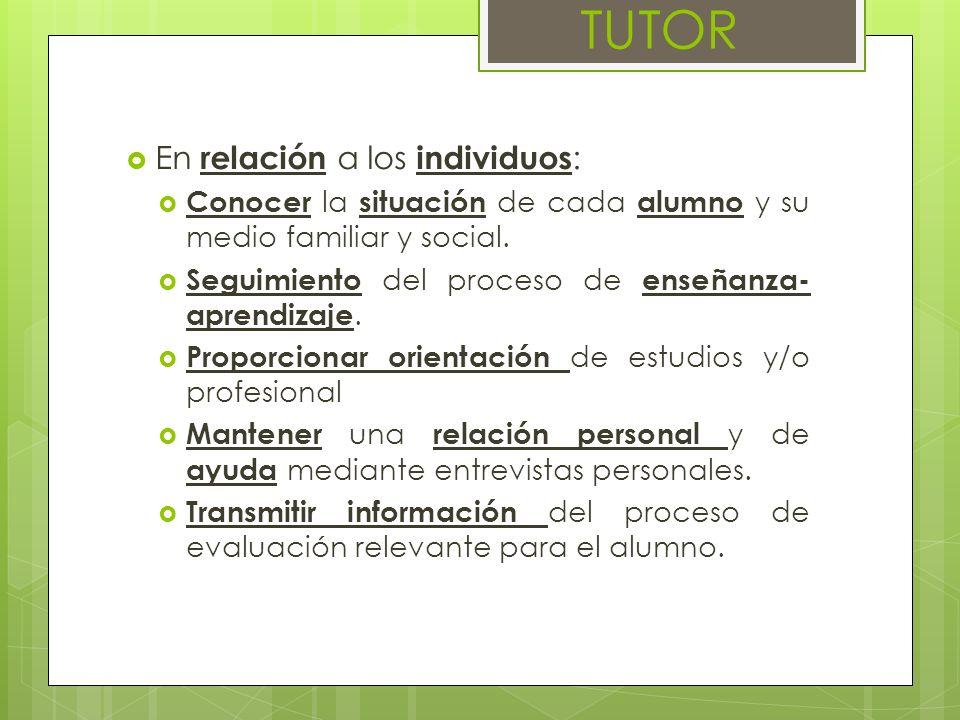 En relación a los individuos : Conocer la situación de cada alumno y su medio familiar y social. Seguimiento del proceso de enseñanza- aprendizaje. Pr
