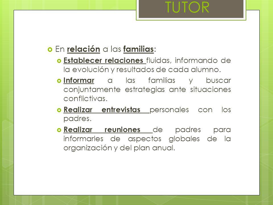 En relación a las familias : Establecer relaciones fluidas, informando de la evolución y resultados de cada alumno. Informar a las familias y buscar c