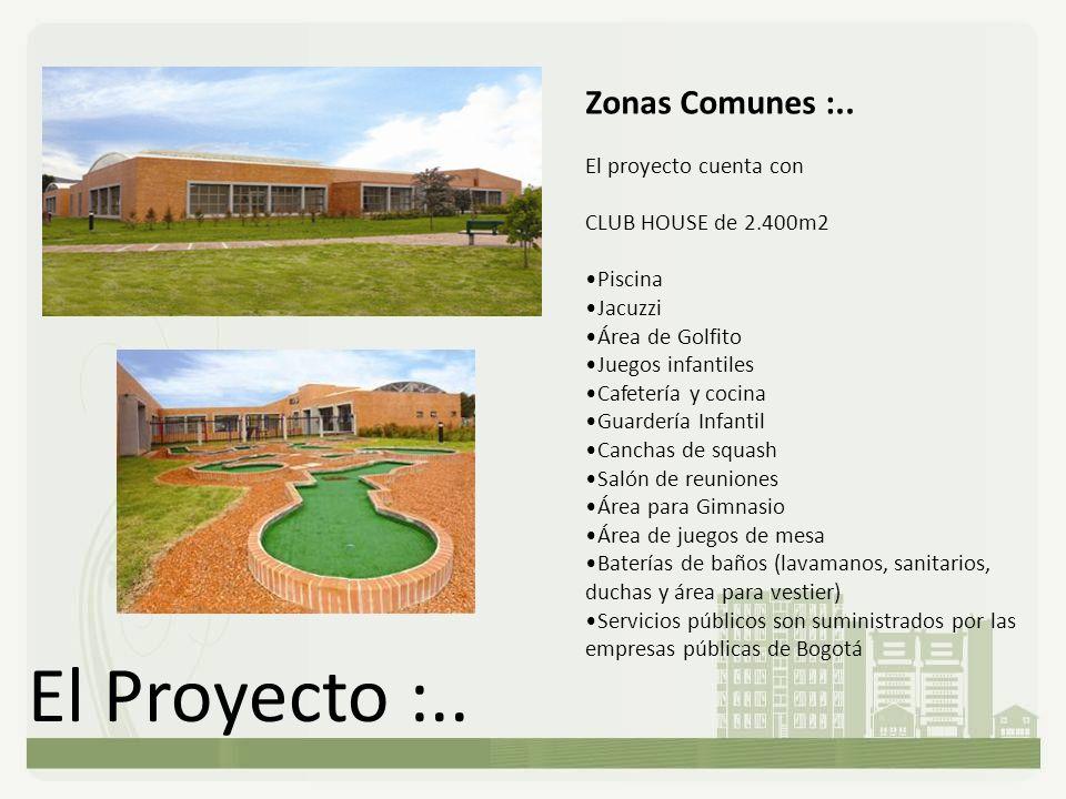 El Proyecto :.. Zonas Comunes :.. El proyecto cuenta con CLUB HOUSE de 2.400m2 Piscina Jacuzzi Área de Golfito Juegos infantiles Cafetería y cocina Gu