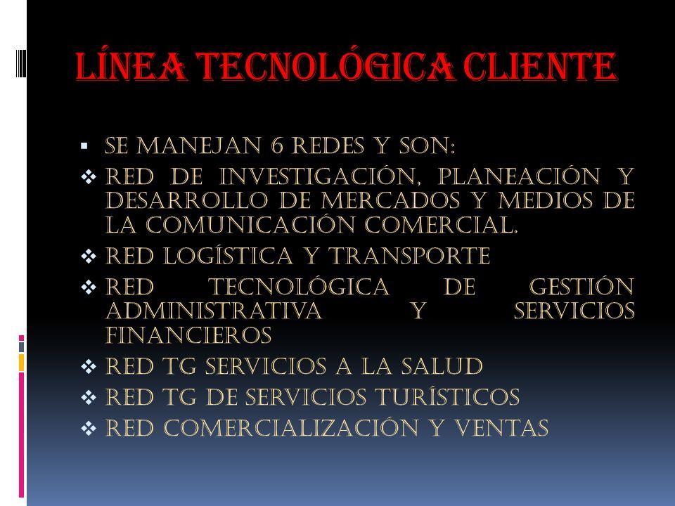 Línea tecnológica cliente Se manejan 6 redes y son: Red de investigación, planeación y desarrollo de mercados y medios de la comunicación comercial.