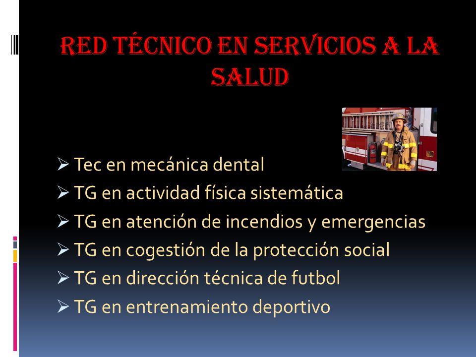 Red técnico en servicios a la salud Tec en mecánica dental TG en actividad física sistemática TG en atención de incendios y emergencias TG en cogestión de la protección social TG en dirección técnica de futbol TG en entrenamiento deportivo