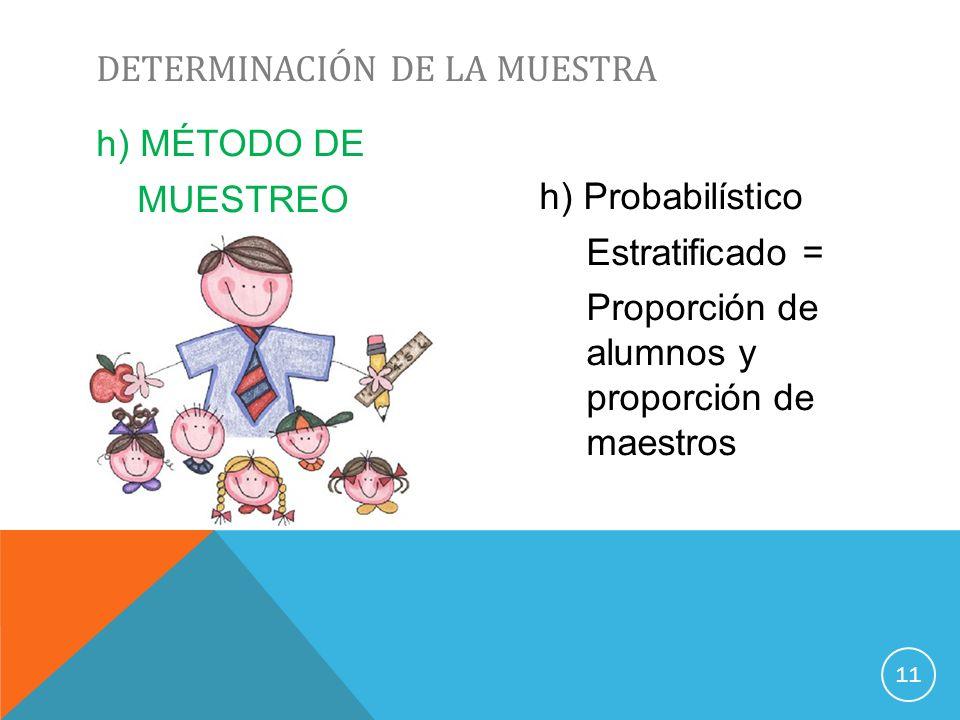 h) MÉTODO DE MUESTREO h) Probabilístico Estratificado = Proporción de alumnos y proporción de maestros DETERMINACIÓN DE LA MUESTRA 11