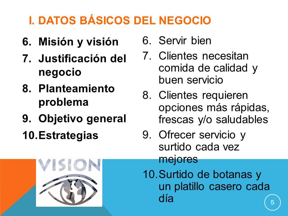 6.Misión y visión 7.Justificación del negocio 8.Planteamiento problema 9.Objetivo general 10.Estrategias I. DATOS BÁSICOS DEL NEGOCIO 5 6.Servir bien