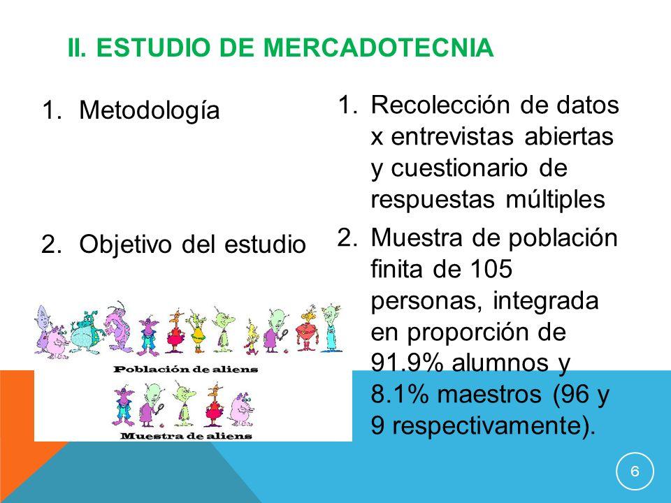 1.Metodología 2.Objetivo del estudio II. ESTUDIO DE MERCADOTECNIA 6 1.Recolección de datos x entrevistas abiertas y cuestionario de respuestas múltipl