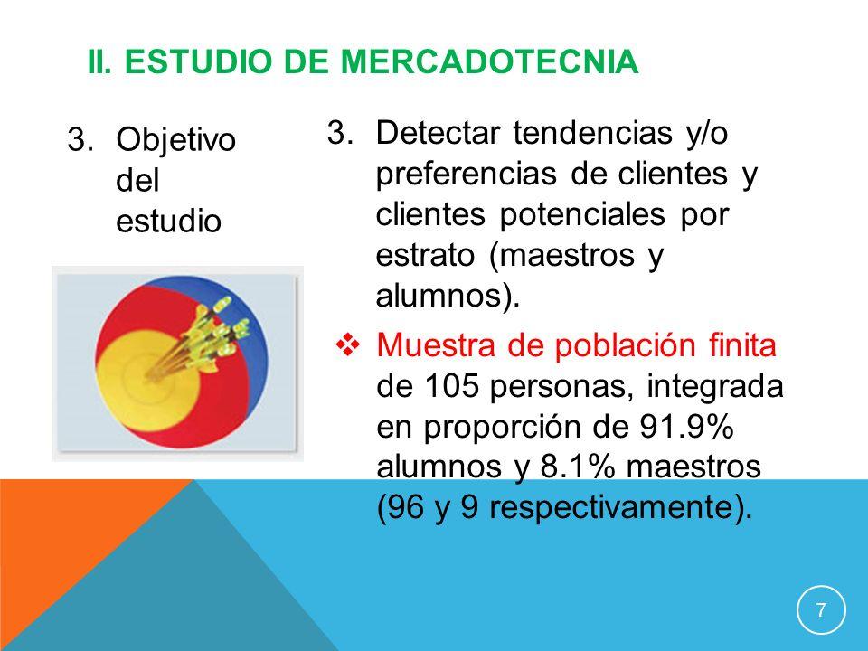 3.Objetivo del estudio II. ESTUDIO DE MERCADOTECNIA 7 3.Detectar tendencias y/o preferencias de clientes y clientes potenciales por estrato (maestros