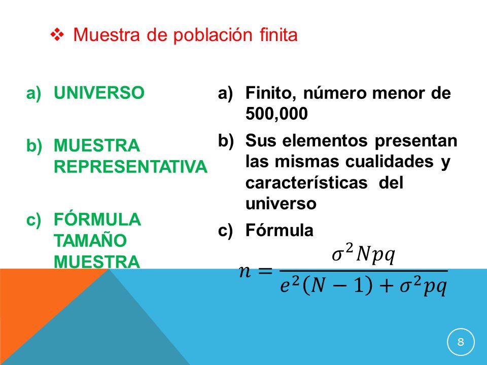 a)UNIVERSO b)MUESTRA REPRESENTATIVA c)FÓRMULA TAMAÑO MUESTRA Muestra de población finita 8