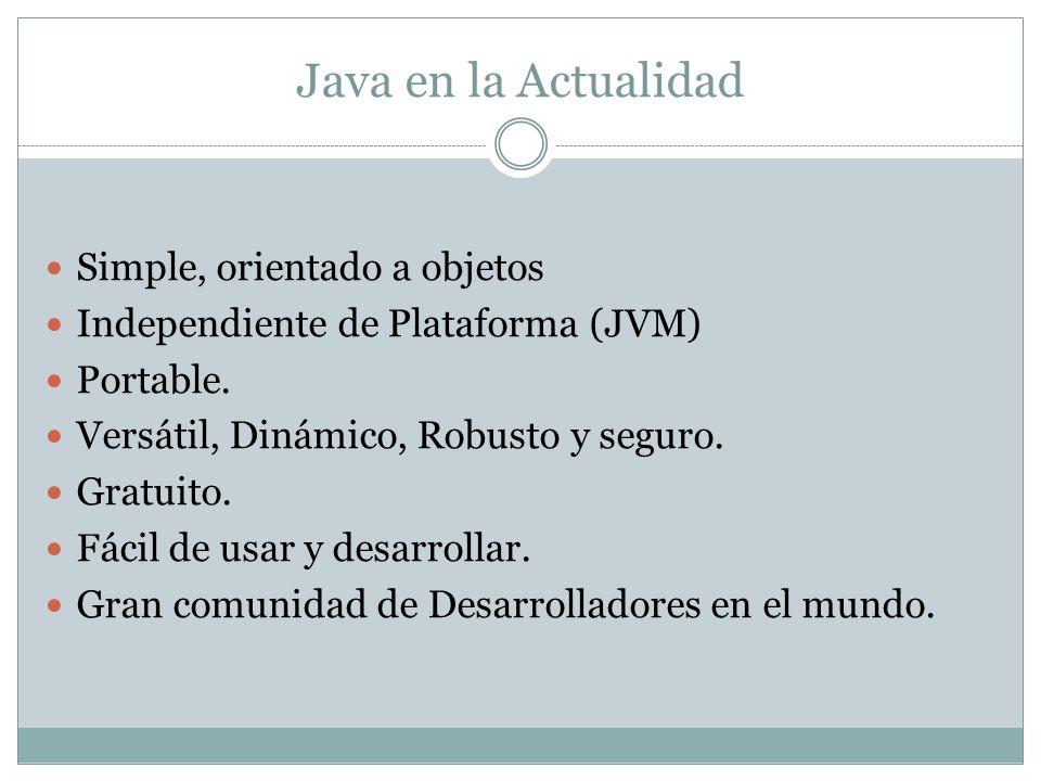Java en la Actualidad Simple, orientado a objetos Independiente de Plataforma (JVM) Portable. Versátil, Dinámico, Robusto y seguro. Gratuito. Fácil de