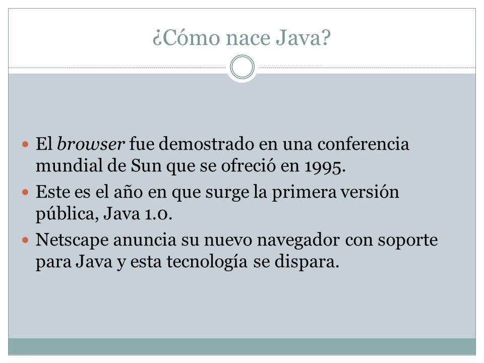 ¿Cómo nace Java? El browser fue demostrado en una conferencia mundial de Sun que se ofreció en 1995. Este es el año en que surge la primera versión pú