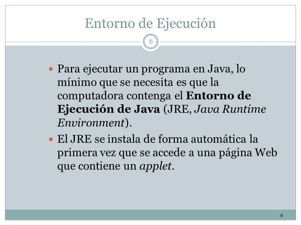 6 6 Entorno de Ejecución Para ejecutar un programa en Java, lo mínimo que se necesita es que la computadora contenga el Entorno de Ejecución de Java (