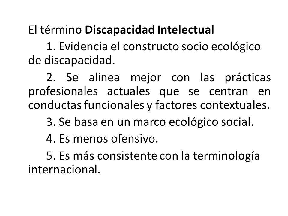 El término Discapacidad Intelectual 1.Evidencia el constructo socio ecológico de discapacidad.