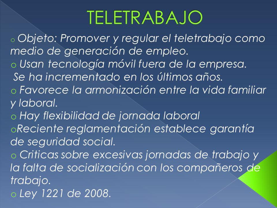 o Objeto: Promover y regular el teletrabajo como medio de generación de empleo. o Usan tecnología móvil fuera de la empresa. Se ha incrementado en los