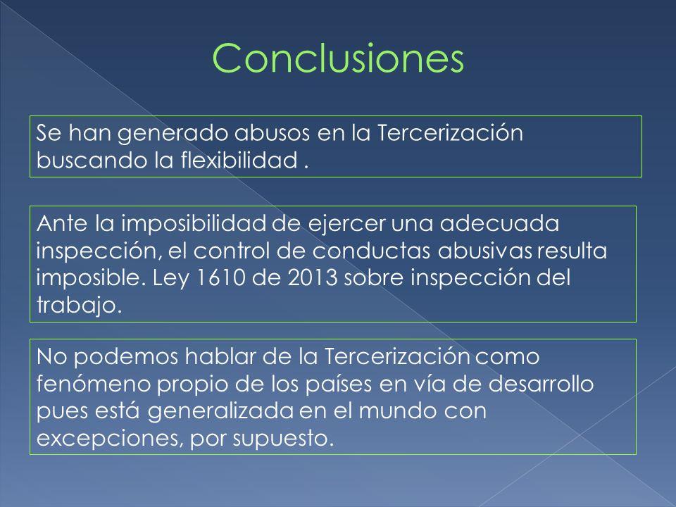 Se han generado abusos en la Tercerización buscando la flexibilidad. Ante la imposibilidad de ejercer una adecuada inspección, el control de conductas