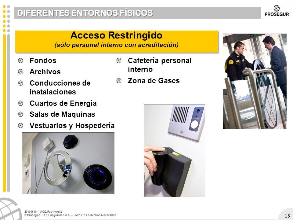 18 20100610 – ACD/Patrimonio © Prosegur Cia de Seguridad S.A. – Todos los derechos reservados Fondos Archivos Conducciones de instalaciones Cuartos de