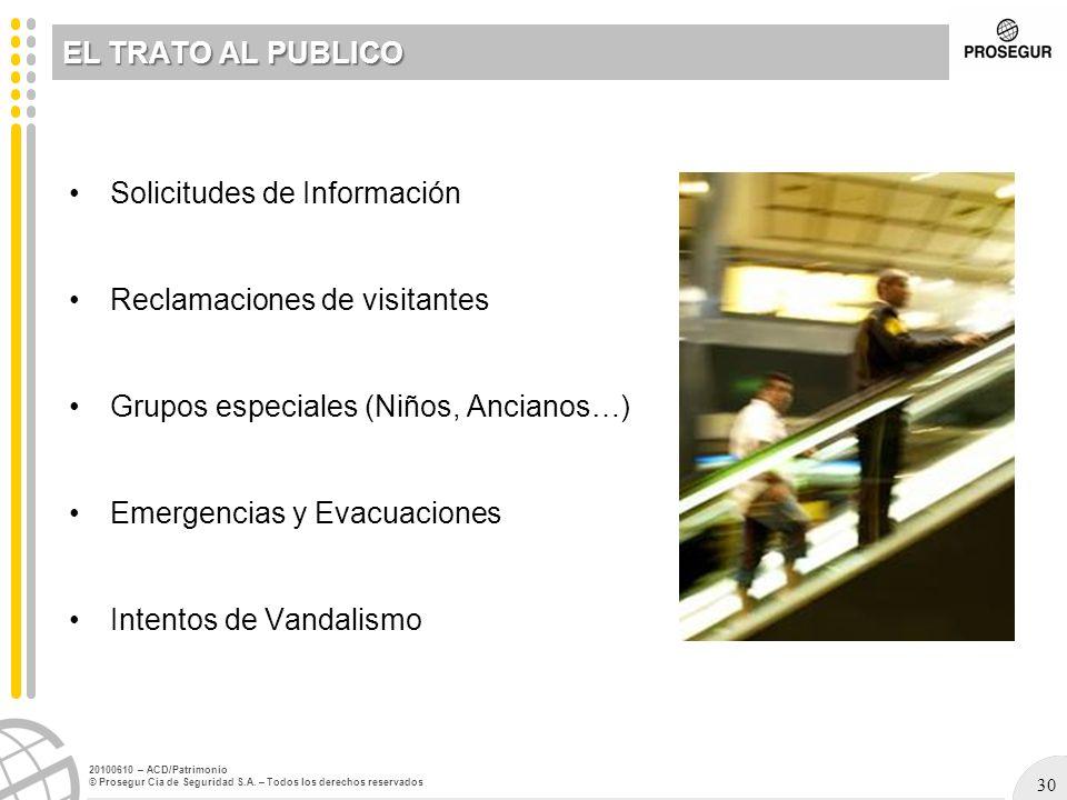 30 20100610 – ACD/Patrimonio © Prosegur Cia de Seguridad S.A. – Todos los derechos reservados Solicitudes de Información Reclamaciones de visitantes G