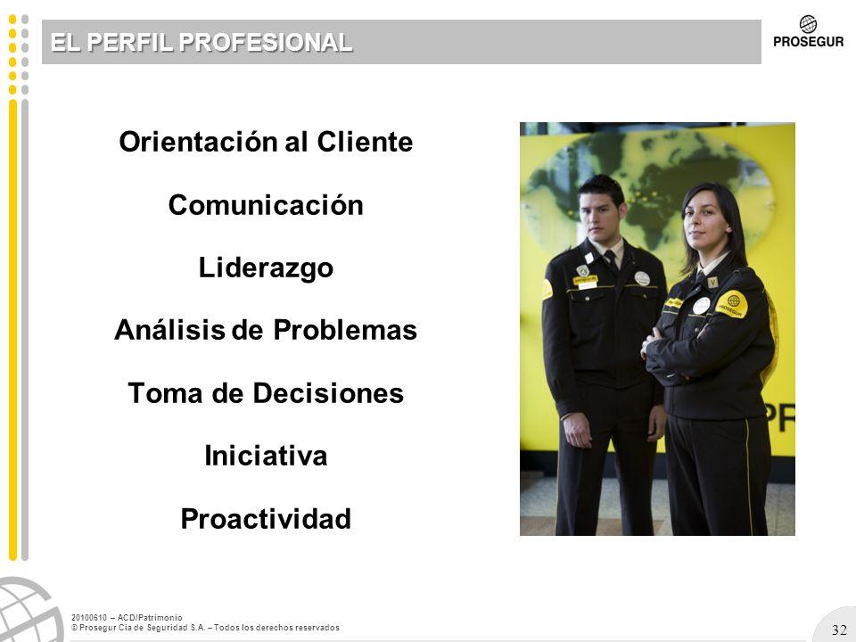 32 20100610 – ACD/Patrimonio © Prosegur Cia de Seguridad S.A. – Todos los derechos reservados Orientación al Cliente Comunicación Liderazgo Análisis d