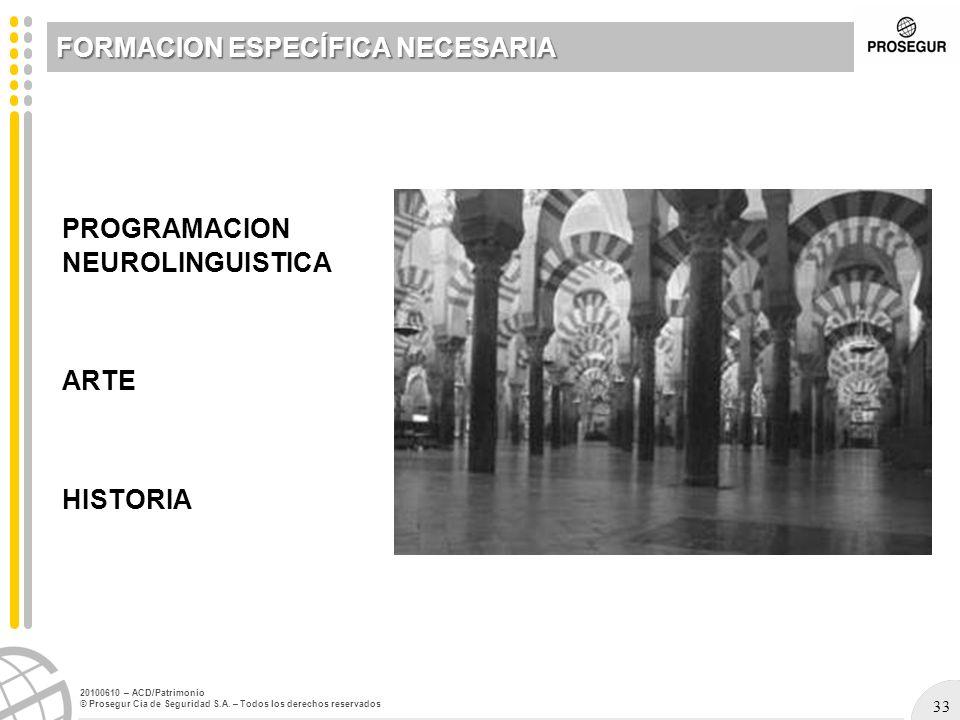 33 20100610 – ACD/Patrimonio © Prosegur Cia de Seguridad S.A. – Todos los derechos reservados PROGRAMACION NEUROLINGUISTICA ARTE HISTORIA FORMACION ES