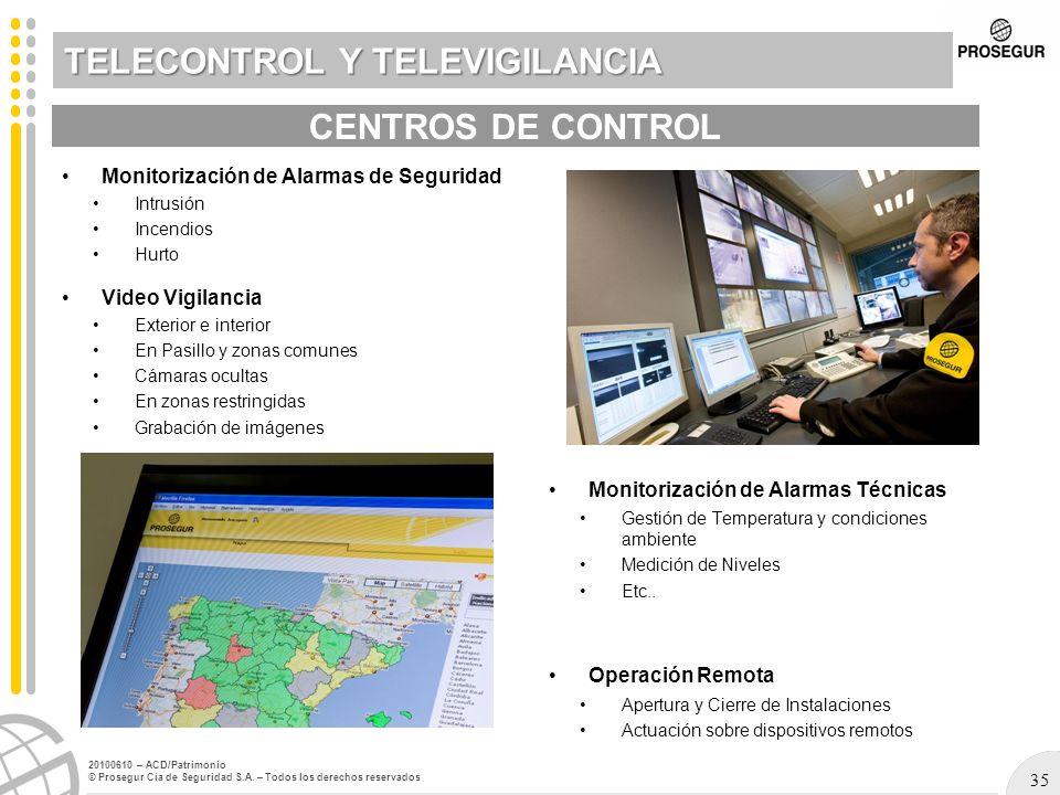 35 20100610 – ACD/Patrimonio © Prosegur Cia de Seguridad S.A. – Todos los derechos reservados TELECONTROL Y TELEVIGILANCIA Monitorización de Alarmas d