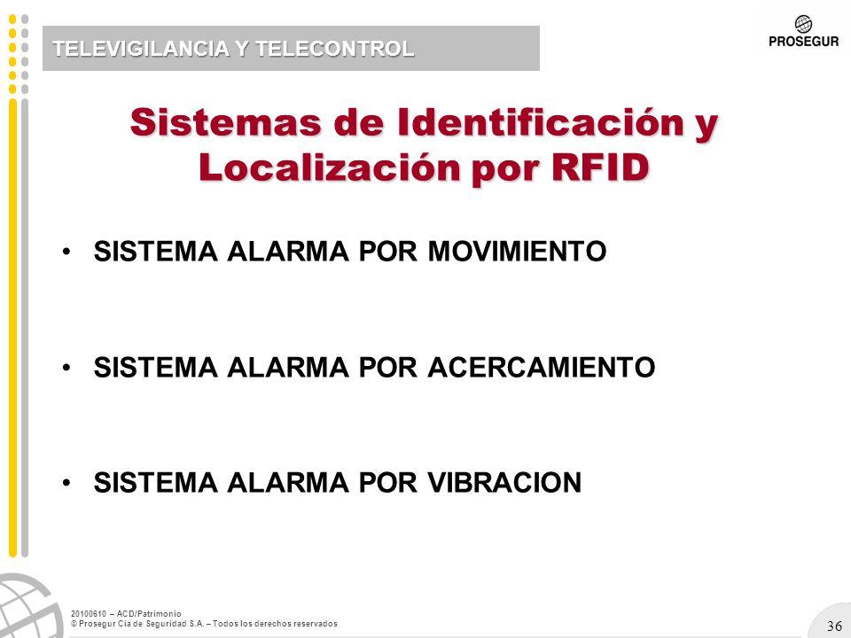 36 20100610 – ACD/Patrimonio © Prosegur Cia de Seguridad S.A. – Todos los derechos reservados TELEVIGILANCIA Y TELECONTROL SISTEMA ALARMA POR MOVIMIEN