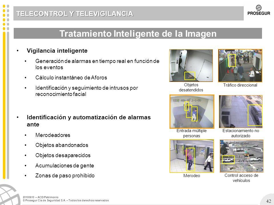 42 20100610 – ACD/Patrimonio © Prosegur Cia de Seguridad S.A. – Todos los derechos reservados Vigilancia inteligente Generación de alarmas en tiempo r