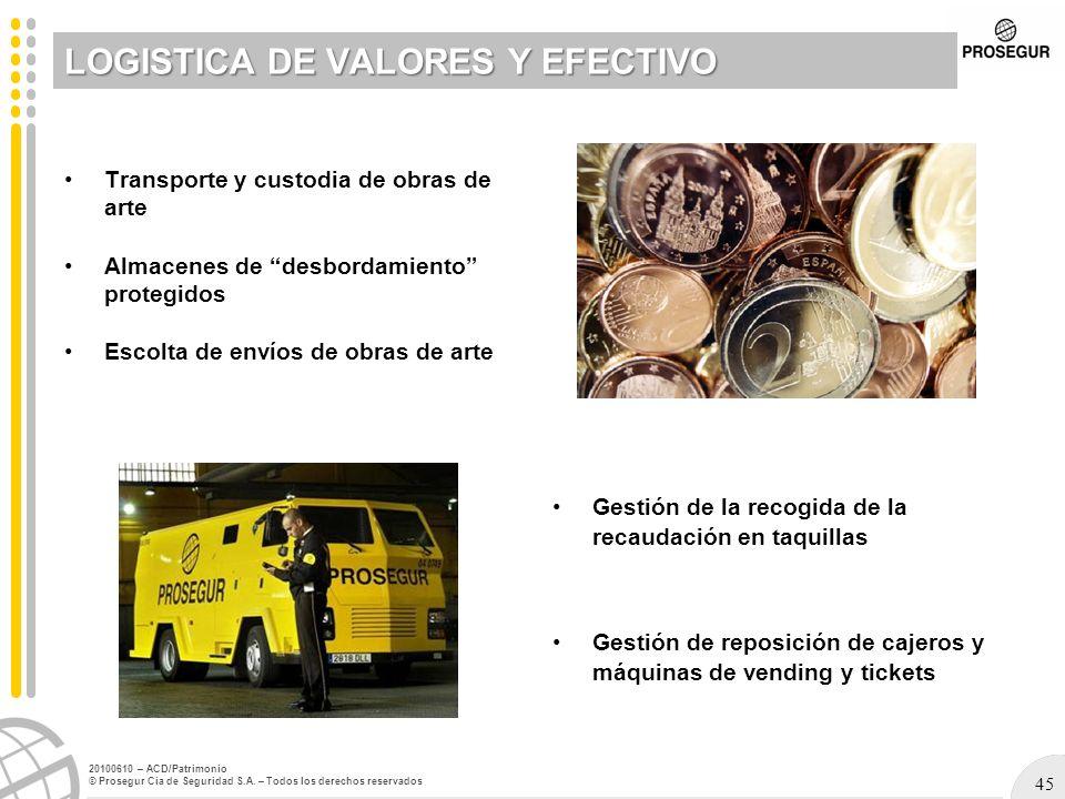 45 20100610 – ACD/Patrimonio © Prosegur Cia de Seguridad S.A. – Todos los derechos reservados LOGISTICA DE VALORES Y EFECTIVO Transporte y custodia de