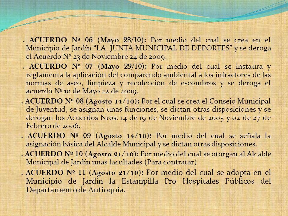 . ACUERDO Nº 06 (Mayo 28/10 ): Por medio del cual se crea en el Municipio de Jardín LA JUNTA MUNICIPAL DE DEPORTES y se deroga el Acuerdo Nº 23 de Nov