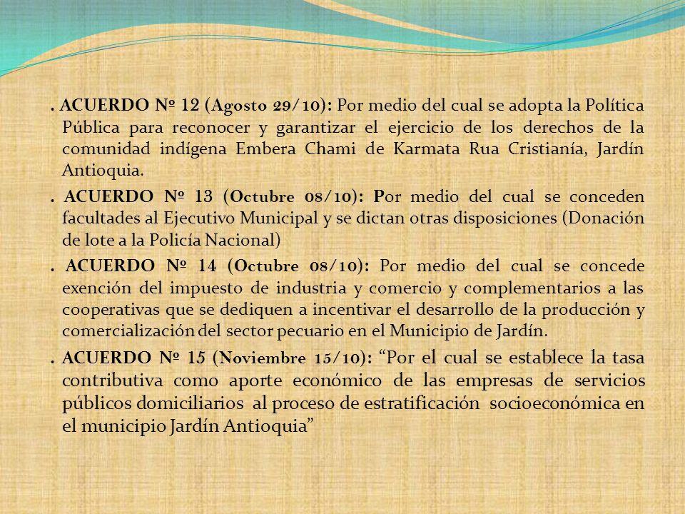 . ACUERDO Nº 12 ( Agosto 29/10 ): Por medio del cual se adopta la Política Pública para reconocer y garantizar el ejercicio de los derechos de la comu