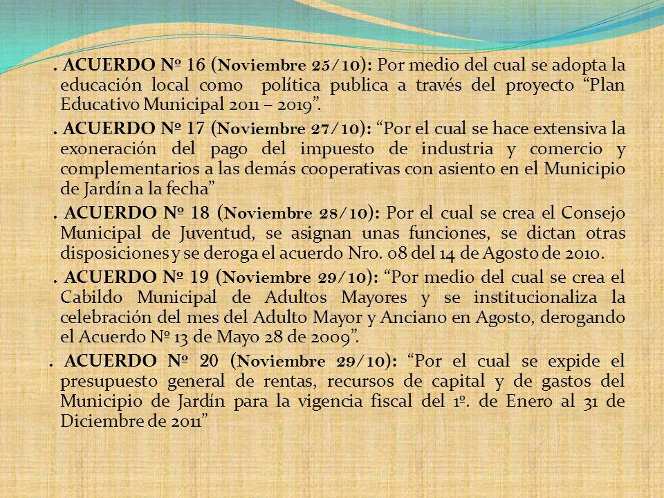 . ACUERDO Nº 16 ( Noviembre 25/10 ): Por medio del cual se adopta la educación local como política publica a través del proyecto Plan Educativo Munici