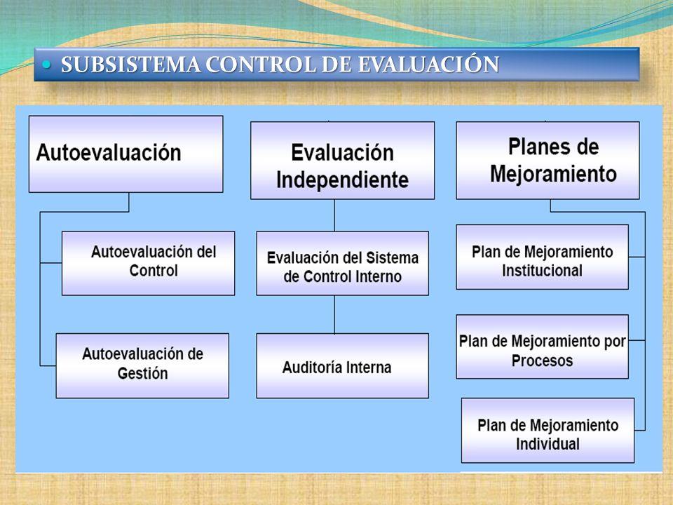 SUBSISTEMA CONTROL DE EVALUACIÓN SUBSISTEMA CONTROL DE EVALUACIÓN