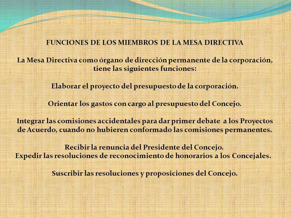 FUNCIONES DE LOS MIEMBROS DE LA MESA DIRECTIVA La Mesa Directiva como órgano de dirección permanente de la corporación, tiene las siguientes funciones